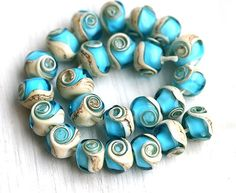 Glass Lampwork beads Aqua blue ocean water beach by MayaHoney