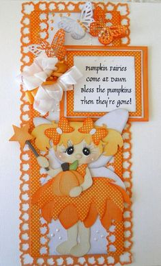 Fall Orange Fairy card with butterflies