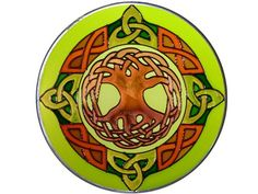 "10"" Round Irish Celtic Tree of Life Green Stained Art Glass Suncatcher 