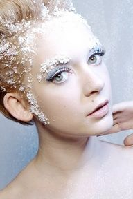 snow fairy makeup. maybe less snowflakes