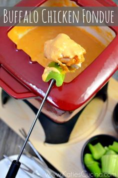 Buffalo Chicken Fondue: 3 tbsp buffalo sauce, 4oz cream cheese softened, 1 cup monterey jack cheese shredded, 1 cup cheddar cheese shredded, 4 oz blue cheese, 1/3 cup milk, celery sticks fried chicken strips.