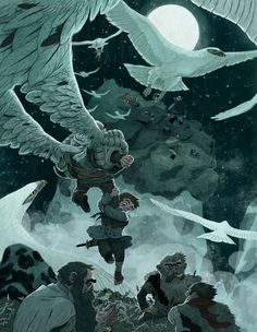 The Hobbit (piece 6) by Sam Bosma 2010 or 2011. Rescued by the Eagles