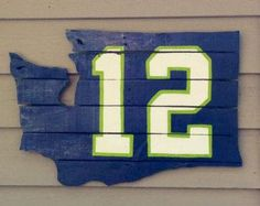 12's sign for Seahawks fans made from a pallet.