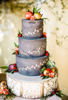 Fall Wedding Cakes: Rustic Gray Cake Topped with Fruit | Brides.com