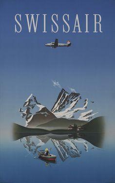 Herbert Leupin (1916–1999): Swissair, 1949. Druckerei: Wolfsbergdruck Zürich…