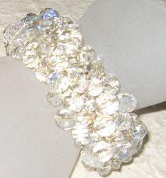 Sparkling Rock Crystal  Bridal Wedding Jewelry Cuff Bracelet - Hand Knit, Original  Artisan Fashion  -  Sereba Designs on etsy. $68.00, via Etsy.