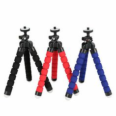 Ginrly Portable Travel Aluminium Camera Tripod,360 Degree Spherical Tripod for GoPro Accessories Stand with Pan Head for Camera,Red