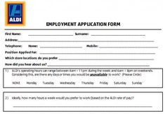 Old Fashioned image for aldi printable job application