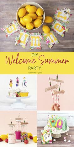 Throw a Bright and Happy Summer Party -- DIY Banner, Favors and More! Throw a Bright and Happy Summer Party. Make DIY Summer Banner, Party Straws, Cupcake wrappers and t Summer Cupcakes, Diy Banner, Happy Summer, Summer Fun, Welcome To The Party, Diy Party, Party Ideas, Party Favor Bags, Summer Parties