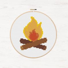 Campfire Cross Stitch Pattern Fire Instant Download Summer Cosy Campfire Great Outdoors Traveller's Gift Camper Wilderness Embroidery Travel by Stitchonomy