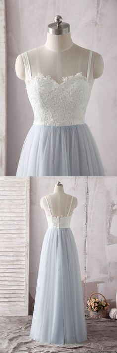 Simple Spaghetti Straps Sweetheart Ivory Lace Blue Tulle Prom Dress PG637 #promdress #eveningdress #tulle #lace #strapsdress #promgown #formaldress #partydress #promgown #longprom #pgmdress #simple