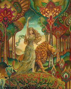 Strength Tarot Goddess Psychedelic Art Nouveau by Emily Balivet Psychedelic Art, Fantasy Kunst, Fantasy Art, Strength Tarot, Inner Strength, Art Nouveau, Art Deco, Street Art, Pagan Art