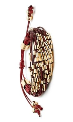 This shiny gold and burgundy multi cord bracelet is right on trend for boho-inspired fall accessories.