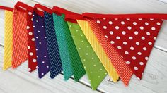 Birthday Decoration Colorful Bunting Fabric Banner Flags Baby Nursery Decor - Rainbow - Ready to Ship. $32.50, via Etsy.