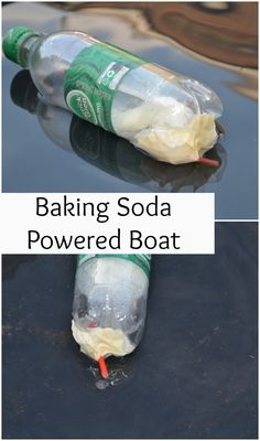 Teach young kids about physical reactions and physics by making a baking soda powered boat