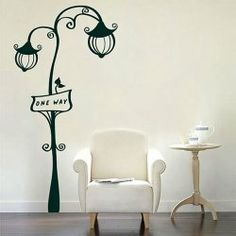 $8.13 Small Size Romantic Street Lamp Pattern PVC Home Decor Wall Sticker Bedroom Sticker
