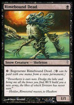 Rimebound Dead - Snow Creature - Skeleton - Skull - Black - Coldsnap - Magic The Gathering Trading Card