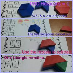 Using pattern blocks to add and subtract fractions with unlike denominators. Step by step blog post and FREEBIE!
