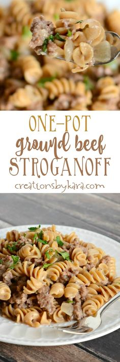 One Pot Ground Beef Stroganoff is a cinch to whip up. And it is hearty and delicious! The whole family will love this beef stroganoff recipe. Beef Dishes, Pasta Dishes, Food Dishes, Main Dishes, Meat Recipes, Cooking Recipes, Healthy Recipes, Hamburger Recipes, Pasta Recipes