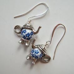 SALE Teapot Earrings Handmade Elegant by SpiritSparkleWhimsy
