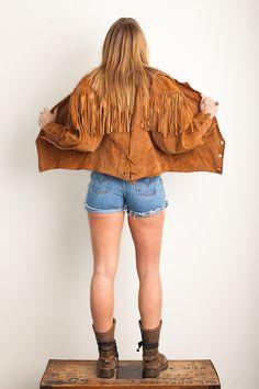 Leather Fringe Jacket Vintage by PrudenceandAustere on Etsy, $65.00