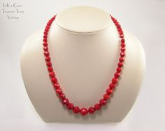 Lipstick Red Czech Glass Beads Vintage Necklace by bctreasuretrove