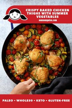 This one-pan meal combines crispy baked chicken thighs with tender summer vegetables like zucchini and cherry tomatoes into a Whole30-friendly, keto, and paleo dinner that'll win over your whole family! #paleo #nomnompaleo #whole30 #keto #easychickendinner #glutenfree Paleo Chicken Recipes, Real Food Recipes, Healthy Recipes, Paleo Food, Entree Recipes, Dinner Recipes, Crispy Baked Chicken Thighs, Nom Nom Paleo, One Pan Meals