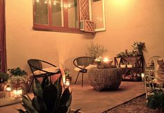 cost effective - couple of chairs, center table, plants and candles.