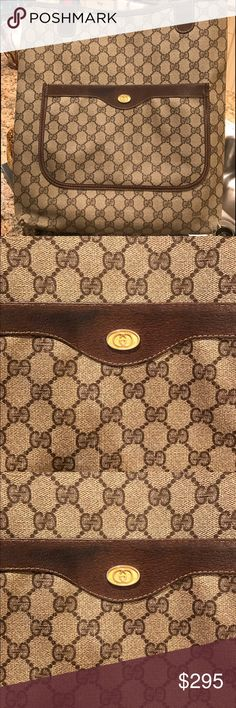 Vintage authentic Gucci tote brown / tan Vintage authentic Gucci tote in brown / tan color. Outside pocket and open inside - super practical and convenient. 15inches high 14inches long and 3.5wide Gucci Bags Totes