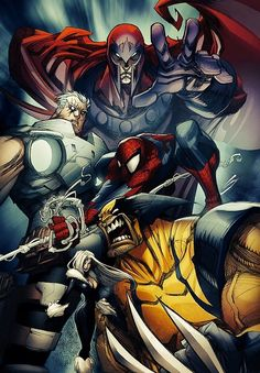 Wolverine, Spider-Man, Cable, Magneto, and the Black Cat by... #comics #art