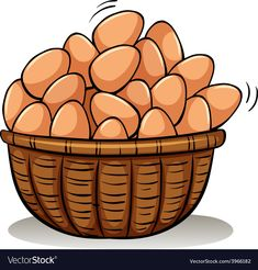 A basket full of eggs vector image on VectorStock Egg Vector, Vector Art, Health Benefits Of Eggs, Health And Fitness Magazine, Alphabet Coloring Pages, Chocolate Cookie Recipes, Gumball Machine, Aesthetic Stickers, Chicken Eggs
