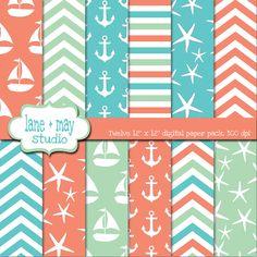 aqua, sea glass and coral nautical / beach digital scrapbook papers. $7.00, via Etsy.