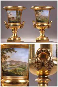 Pair of Porcelaine de Paris Medici vases with gilded rim, stem, and base. On the paunch of each vase are painted landscapes. On one vase is a rural valley with sheep grazing near a river and. Porcelain Signs, Porcelain Vase, European Furniture, Antique Furniture, Charles X, Outdoor Greenhouse, Vases, Romantic Paris, Tea Service