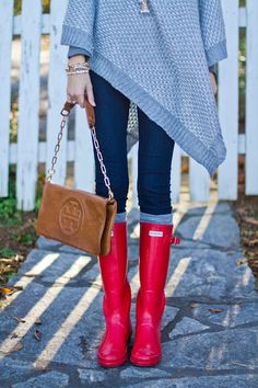 The perfect fall/winter outfit with hunter boots! <3 seriously love the sweater, and the pop of red is perfect!