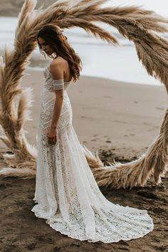 Mermaid Sweetheart Sweep Train Lace Beach Wedding Dress, simple boho wedding dresses, chic off the shoulder bridal gowns