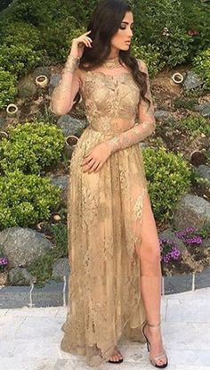 Formal Prom Dresses, Side-Slit Appliques Sexy High-Neck Long-Sleeves Tulle Gold Prom Dresses Whether you prefer short prom dresses, long prom gowns, or high-low dresses for prom, find your ideal prom dress for 2020 Gold Prom Dresses, A Line Prom Dresses, Tulle Prom Dress, Prom Party Dresses, Prom Gowns, Bridesmaid Dresses, Graduation Dresses, Dresses Uk, Bride Dresses