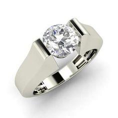 Marcel Ring with Round SI Diamond | 1.0 carat Round SI Diamond Solitaire Ring in 14k White Gold | Diamondere #diamondsolitaire