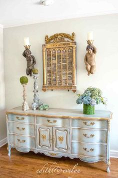 This pretty French Provincial dresser belonged to my sweet mother in law, Evelyn. Sometime in the past, it was (poorly) painted with white… Top Furniture Stores, Cheap Furniture, Shabby Chic Furniture, Vintage Furniture, Home Furniture, Bedroom Furniture, Dresser Furniture, Furniture Movers, French Furniture