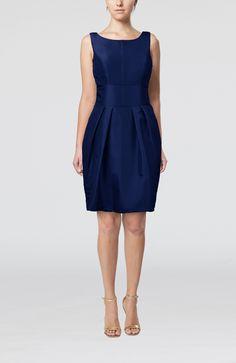 Dark Blue Bridesmaid Dress - Plain Scoop Taffeta Mini Bow
