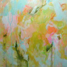 Elena abstract contemporary yellow painting original art 30x30