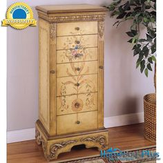 Powell Antique Parchment Hand Painted #Jewelry #Armoire #Chest #Cabinet.  $374.00