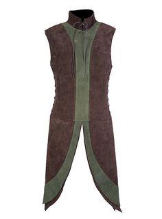 Dwarf Surcoat brown & green made of suede