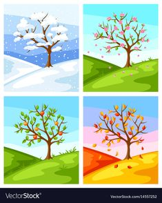 Find Four Seasons Illustration Tree Landscape Winter stock images in HD and millions of other royalty-free stock photos, illustrations and vectors in the Shutterstock collection. Thousands of new, high-quality pictures added every day. Drawing For Kids, Art For Kids, Crafts For Kids, Four Seasons Image, Tree Illustration, Illustrations, Four Seasons Painting, Seasons Lessons, Weather For Kids