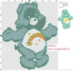 Wish Bear from Care Bears cartoon cross stitch pattern free (click to view)