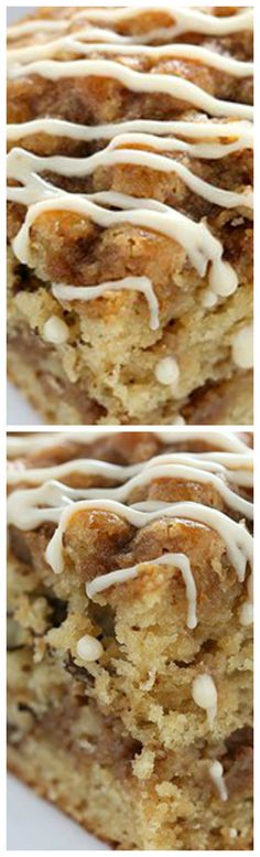Maple Walnut Coffee Cake ~ Perfectly moist, light, and fluffy while bursting with fall-inspired flavors... Quick and easy recipe, no mixer required!