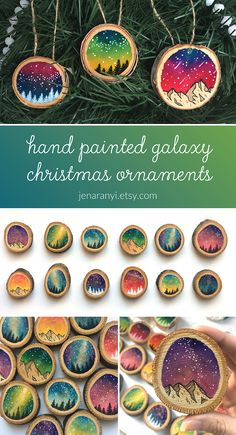 Add some color and fun to your holiday tree this year with these hand painted galaxy-inspired wood slice ornaments! They make for great gifts for friends, or for yourself! Galaxy Painting, Galaxy Art, Wood Slices, Holiday Tree, Various Artists, Christmas Projects, Painting Techniques, Wood Art, Scissors