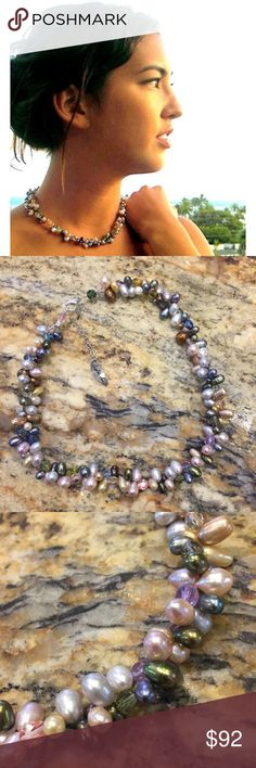 Leighton Lam - 2-Strand Freshwater Pearl Necklace 2-strand necklace with AA Freshwater pearls and Czech Fire polish beads. Sterling silver chain with lobster claw clasp. Never worn. Leighton Lam Jewelry Necklaces