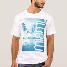 Blue gradient art photo Miami inspired T-Shirt  $18.75  by ComboDesign  - custom gift idea