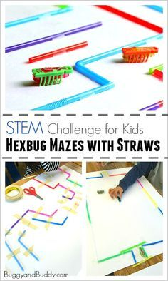 STEM Challenge for Kids: Build a Hexbug Maze with Straws (Fun science and engineering activity for a class or to do on a rainy day!) ~ BuggyandBuddy.com
