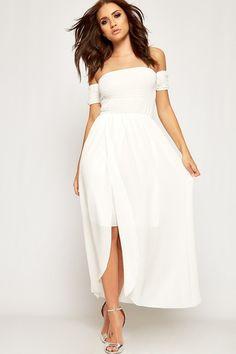 Penny Bardot Shirring Split Chiffon Maxi Dress